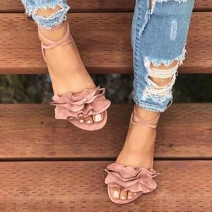 Shoes - Last Pair! Blush Pink Lace-Up Ruffle Sandals